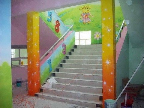 幼儿园墙体装饰卡通画彩绘