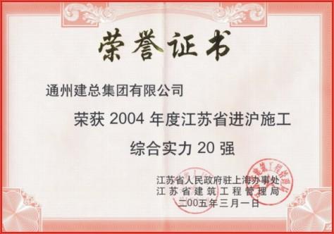 2004年度江苏省进沪施工综合实力二十强