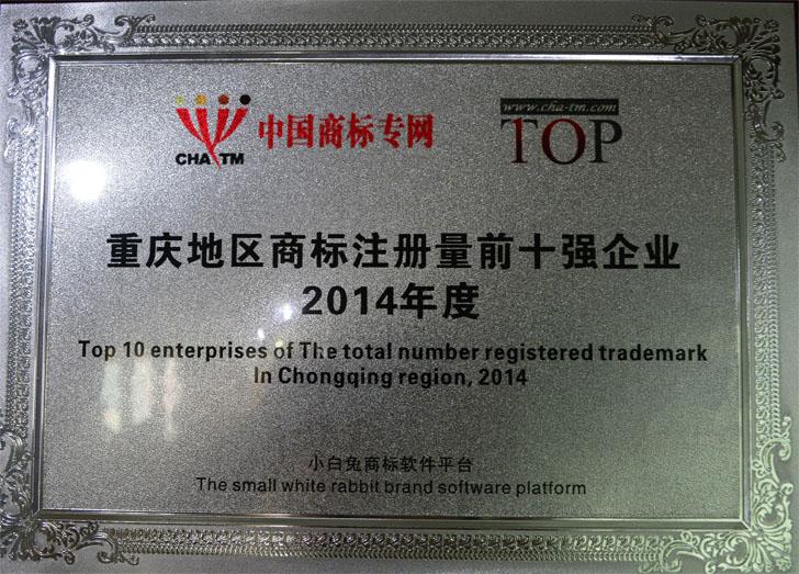 重庆地区商标注册量前十企业