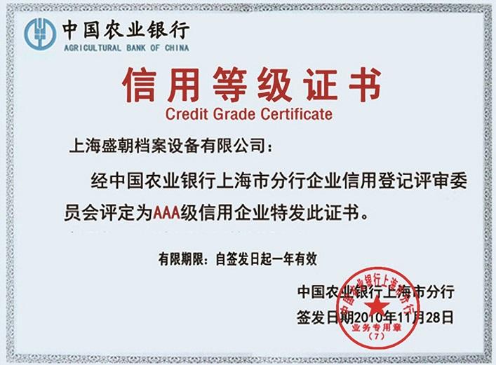银行信用等级证书