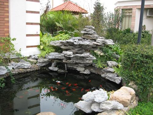 上海假山鱼池设计|假山鱼池制作
