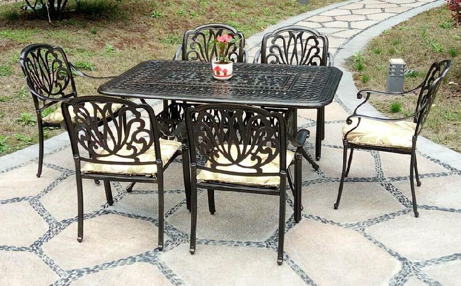 休闲户外桌椅欧式铁艺桌椅组合阳台庭院花园桌椅五件套铸铝桌椅