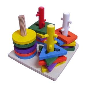 四柱套装积木木制玩具 益智玩具智力玩具儿童玩具可; 秒杀特卖四柱