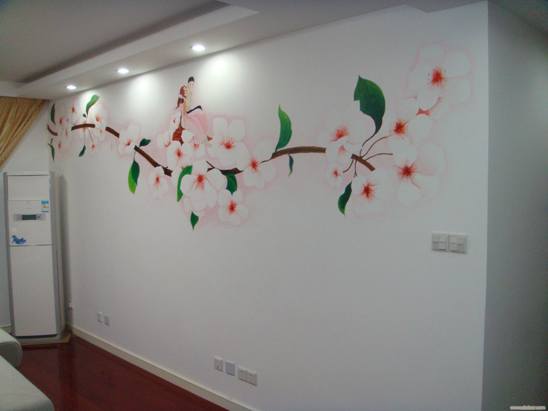 墙绘客厅效果图电视墙 装修图满多