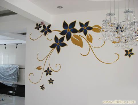 手绘墙墙画风格有中华风情,北欧