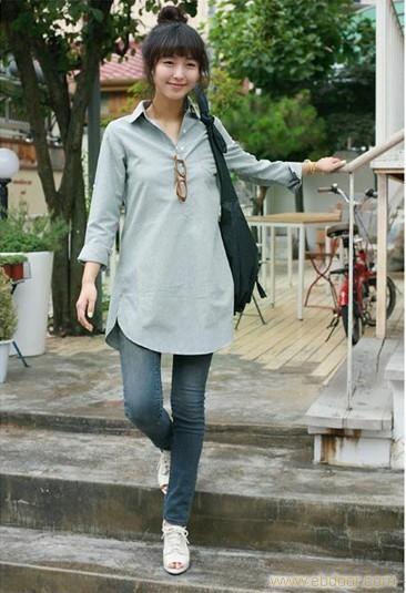 装新款韩版休闲简约个性宽松气质长袖衬衫长款棉麻衬衣 秋装新款韩