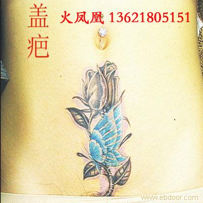 纹身 后背双腿纹满 火凤凰图案