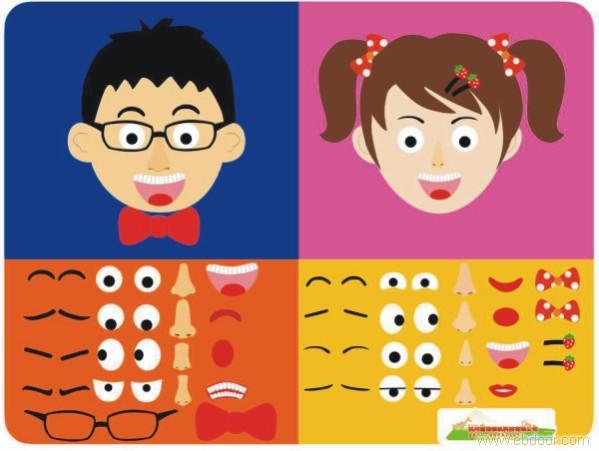 认识五官活动目标1,幼儿通过自得尝试活动,正确说出嘴巴,眼睛,耳朵