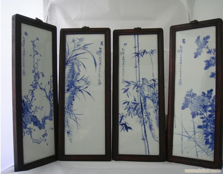 """手绘高仿做旧青花瓷板""""梅,兰,竹,菊"""""""