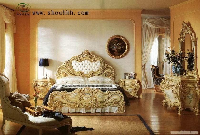 上海欧式家具,欧式床,巴洛克风格,彩绘