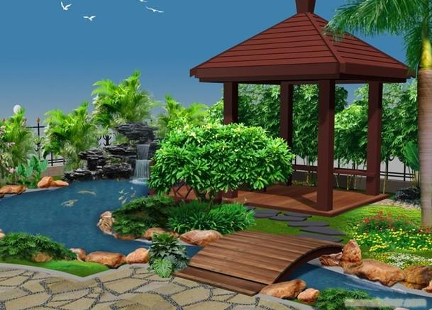别墅花园鱼池效果图; 上海别墅庭院工程