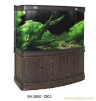 胡桃木纹SMG8000韩式弧面高缸 上海水族箱专业制作