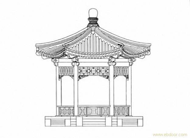 中国古建筑简笔画亭子分享展示