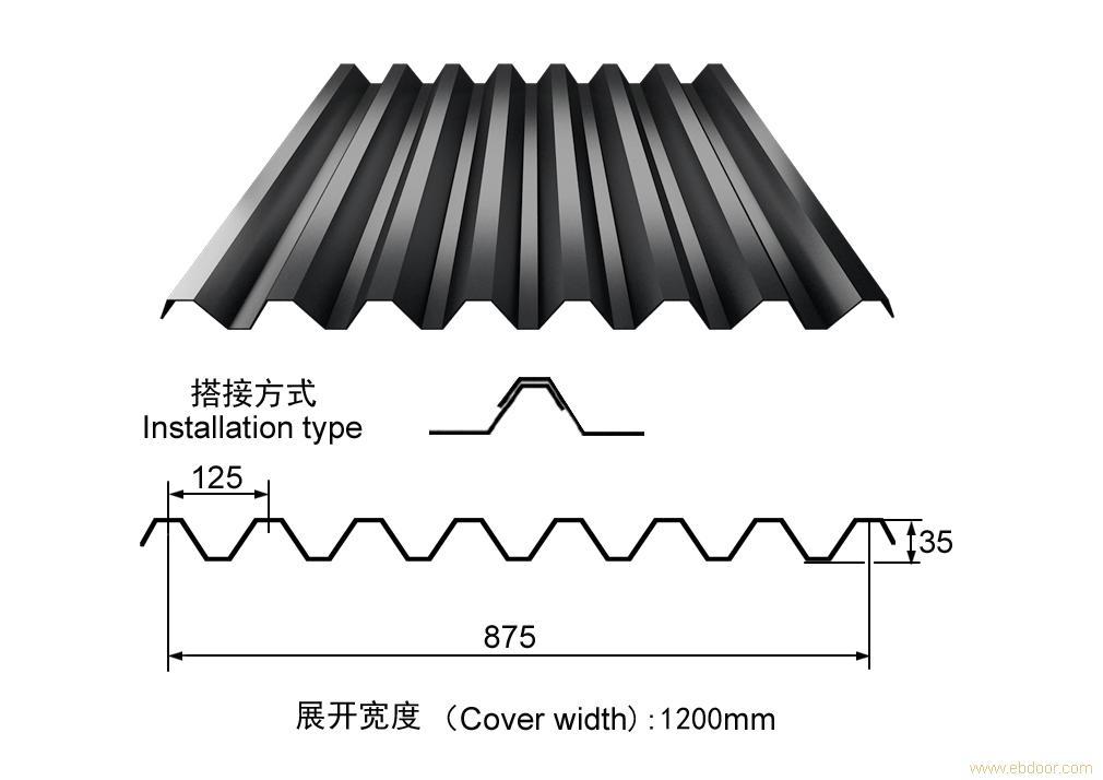 楼承板YX35-125-875(V-125)_上海楼承板_闭口式楼承板