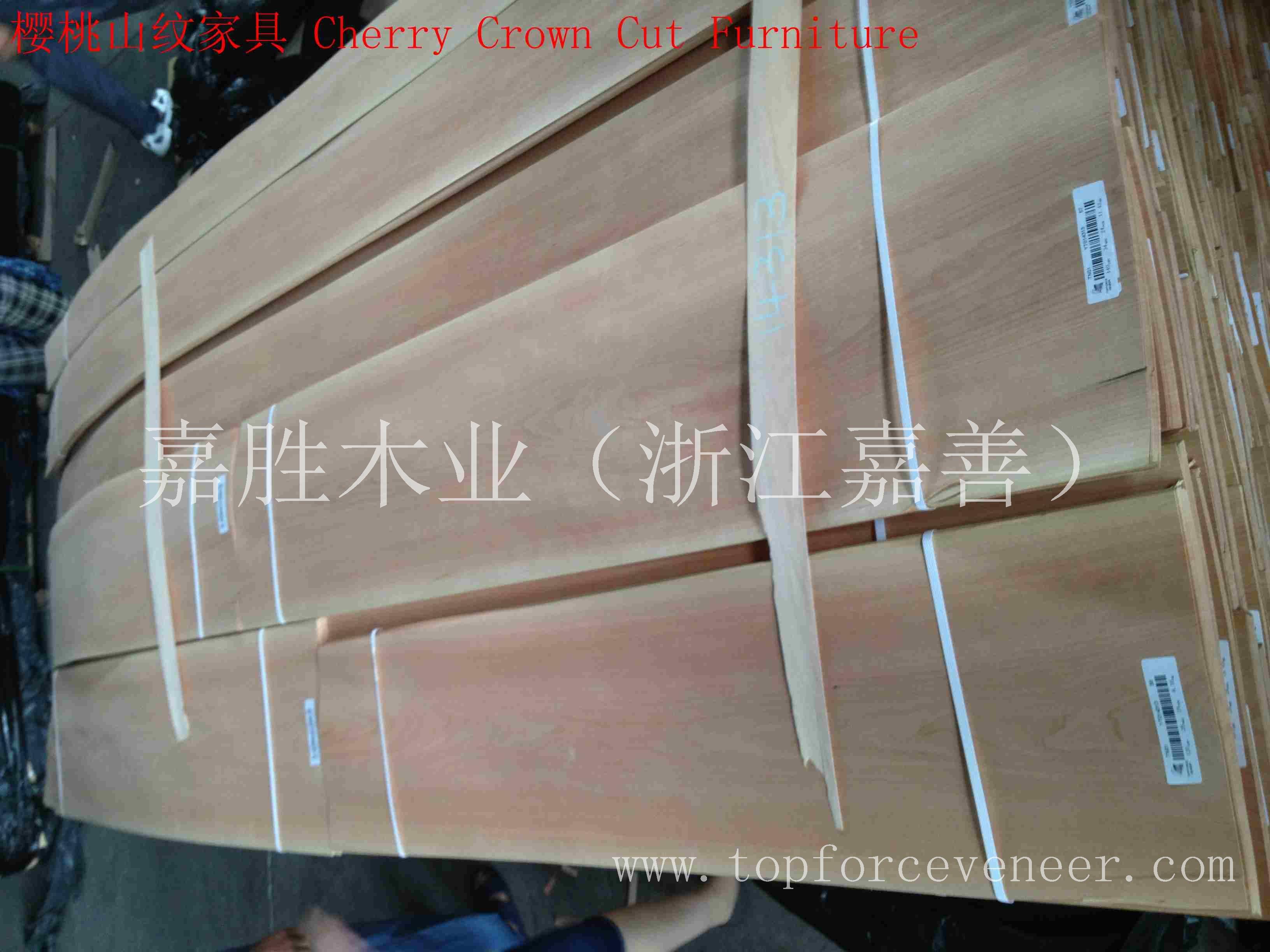 浙江嘉善美国樱桃山纹花纹木皮-ZheJiang JiaShan American Black Cherry Plain Cut PC Crown Cut Veneer PA