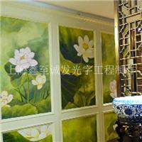 餐厅彩绘墙/包房彩绘墙/饭店大堂彩绘墙