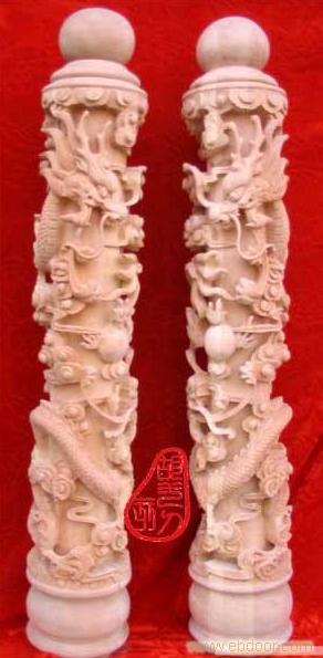 ; 东阳木雕纯手工雕刻楼梯扶手大龙柱
