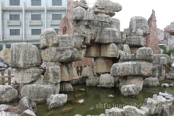 鱼纹石假山,上海假山制作公司