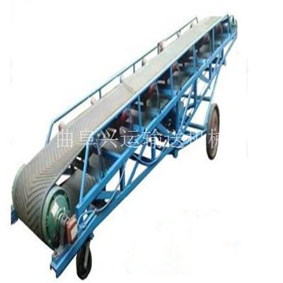 包裹传送皮带输送机规格 9米长圆管护栏仓储装卸车输送机