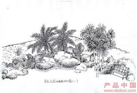 庭院植物配置手绘图