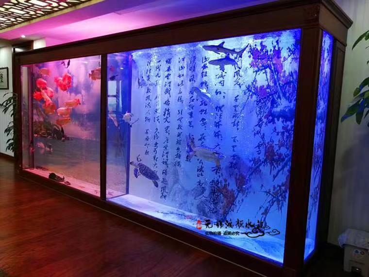 亚克力鱼缸里的特殊水下造景-油菜花