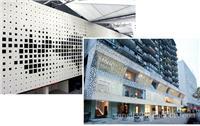 """连锁品牌门头白色""""氟碳冲孔铝单板""""外墙雕花铝单板新颖设计"""