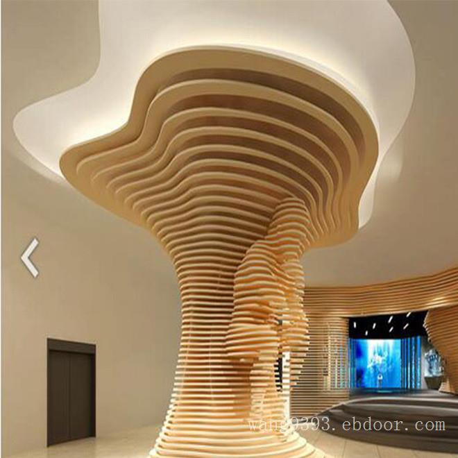 造型铝板铝方通吊顶-新型商场铝合金方通天花