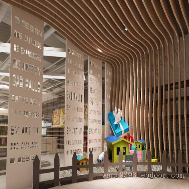 餐厅不规则木纹铝方通吊顶-型材铝方通规格