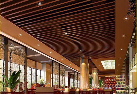 图书馆仿木纹铝方通吊顶-波浪型铝方通幕墙
