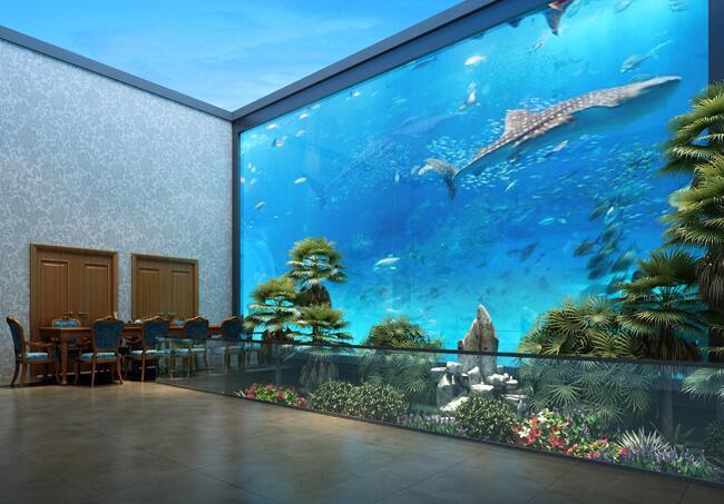 亚克力海景观赏鱼缸定做-亚克力鱼缸生产厂家