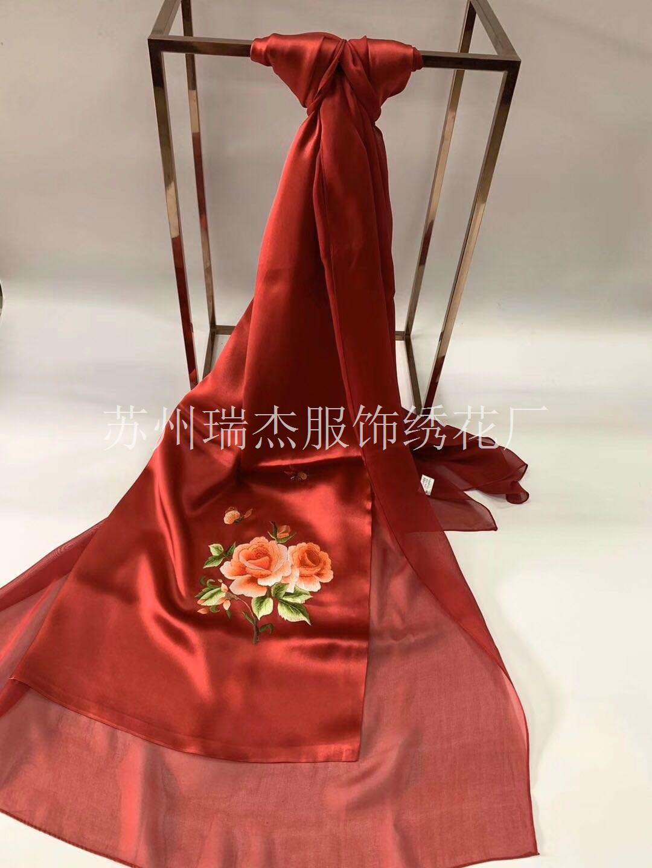 苏州/手工绣花_丝巾