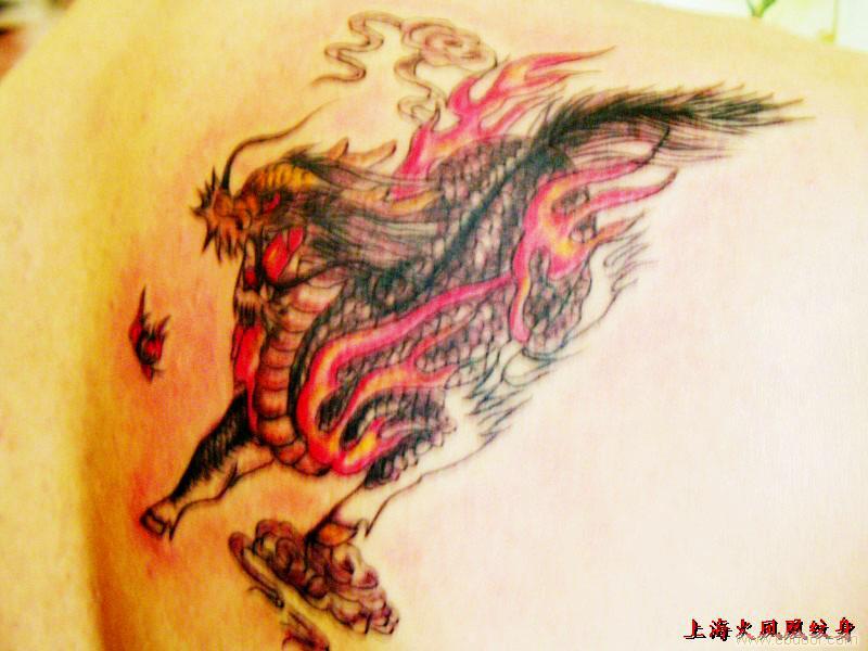 飞天麒麟--上海肩部纹身