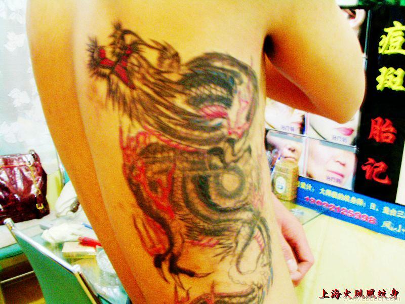 腰部龙纹身-上海腰部纹身