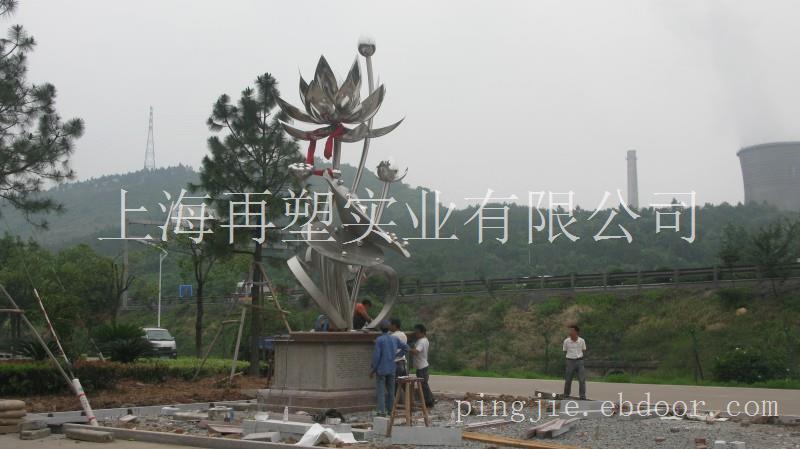 绍兴斗门镇荷湖村不锈钢村雕