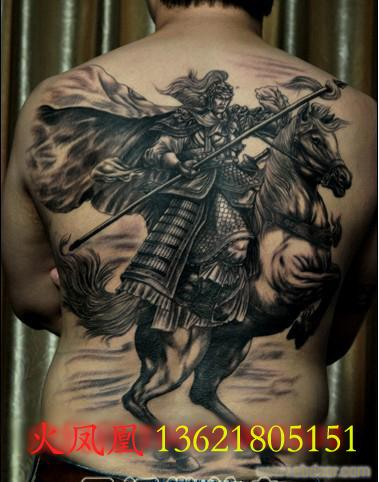 纹身赵子龙图案,赵子龙纹身背部图案,背后纹身赵子龙图案,后背高清图片